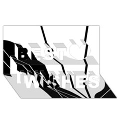 White and Black  Best Wish 3D Greeting Card (8x4)