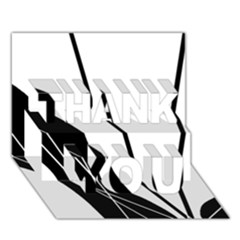 White and Black  THANK YOU 3D Greeting Card (7x5)