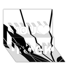 White and Black  You Rock 3D Greeting Card (7x5)