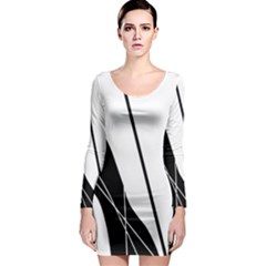 White and Black  Long Sleeve Bodycon Dress