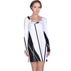 White and Black  Long Sleeve Nightdress