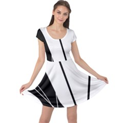 White and Black  Cap Sleeve Dresses