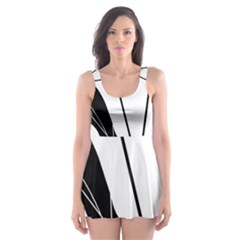 White and Black  Skater Dress Swimsuit