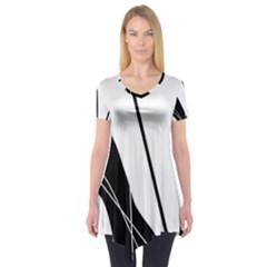 White and Black  Short Sleeve Tunic