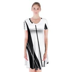 White and Black  Short Sleeve V-neck Flare Dress