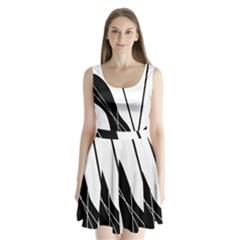 White and Black  Split Back Mini Dress