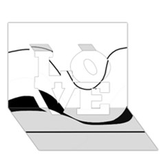 Waves - black and white LOVE 3D Greeting Card (7x5)