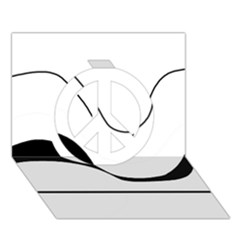 Waves - black and white Peace Sign 3D Greeting Card (7x5)