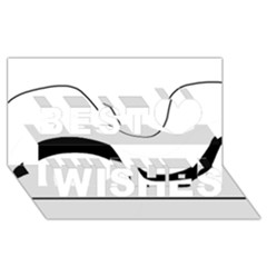 Waves - black and white Best Wish 3D Greeting Card (8x4)