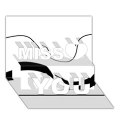 Waves - black and white Miss You 3D Greeting Card (7x5)