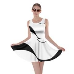 Waves - black and white Skater Dress