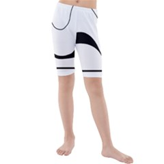 Waves - black and white Kids  Mid Length Swim Shorts