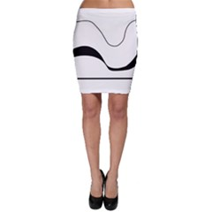 Waves - black and white Bodycon Skirt
