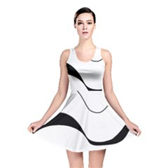Waves - black and white Reversible Skater Dress
