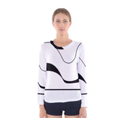 Waves - black and white Women s Long Sleeve Tee