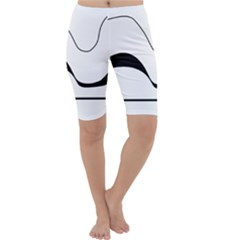 Waves - black and white Cropped Leggings