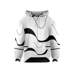 Waves - black and white Kids  Zipper Hoodie