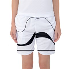 Waves - black and white Women s Basketball Shorts