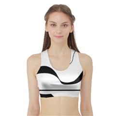 Waves - black and white Sports Bra with Border