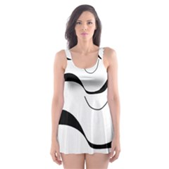 Waves - black and white Skater Dress Swimsuit