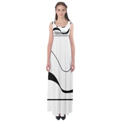Waves - black and white Empire Waist Maxi Dress