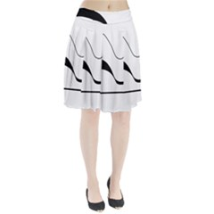 Waves - black and white Pleated Skirt