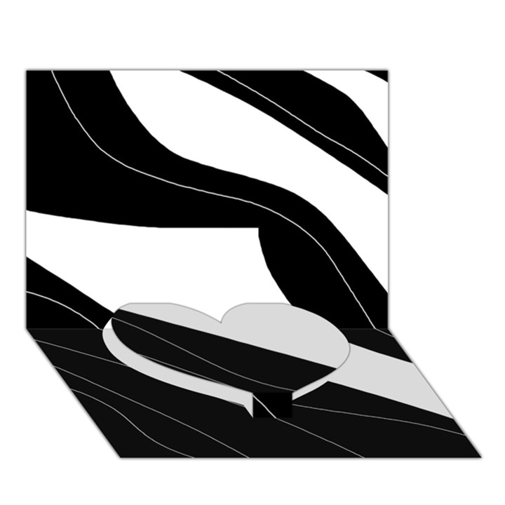 White and black decorative design Heart Bottom 3D Greeting Card (7x5)