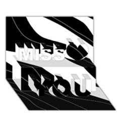 White and black decorative design Miss You 3D Greeting Card (7x5)