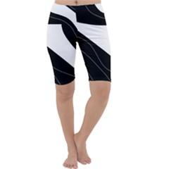 White and black decorative design Cropped Leggings