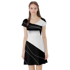 White and black decorative design Short Sleeve Skater Dress