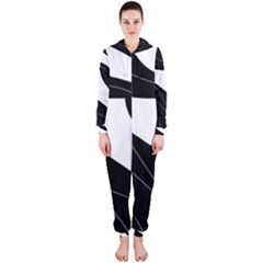 White and black decorative design Hooded Jumpsuit (Ladies)