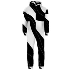 White and black decorative design Hooded Jumpsuit (Men)