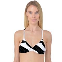 White and black decorative design Reversible Tri Bikini Top