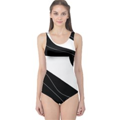 White and black decorative design One Piece Swimsuit
