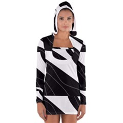 White And Black Decorative Design Women s Long Sleeve Hooded T Shirt