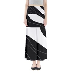 White and black decorative design Maxi Skirts