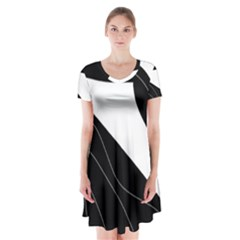 White and black decorative design Short Sleeve V-neck Flare Dress