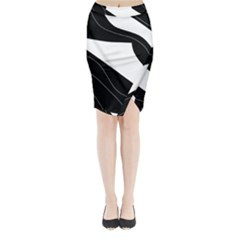 White and black decorative design Midi Wrap Pencil Skirt
