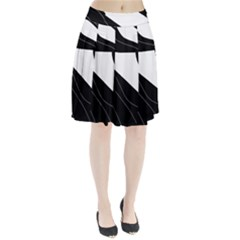 White And Black Decorative Design Pleated Skirt
