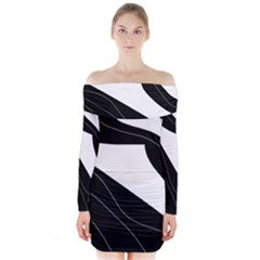 White And Black Decorative Design Long Sleeve Off Shoulder Dress