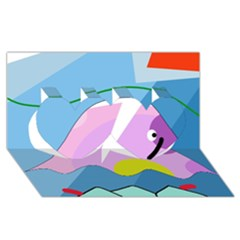 Under the sea Twin Hearts 3D Greeting Card (8x4)