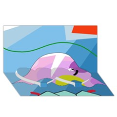 Under the sea Twin Heart Bottom 3D Greeting Card (8x4)