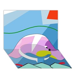 Under the sea Circle Bottom 3D Greeting Card (7x5)