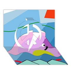 Under the sea Peace Sign 3D Greeting Card (7x5)