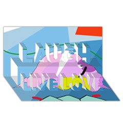 Under the sea Laugh Live Love 3D Greeting Card (8x4)