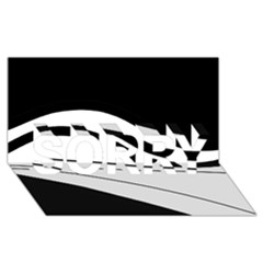 White and black harmony SORRY 3D Greeting Card (8x4)