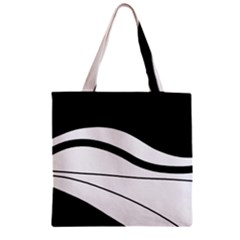 White and black harmony Zipper Grocery Tote Bag