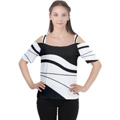 White and black harmony Women s Cutout Shoulder Tee