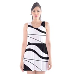 White and black harmony Scoop Neck Skater Dress