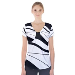 White and black harmony Short Sleeve Front Detail Top